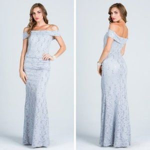 Off Shoulder Sequin lace Bodycon Gown